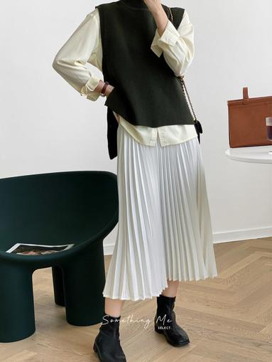 BF201001 法式氣質百摺長裙 3色