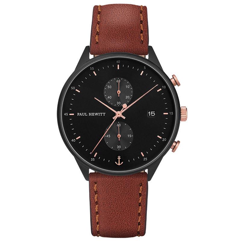 PH-C-B-BSR-1 Paul Hewitt 手錶 - Chrono 探險時針皮革腕錶 (霧黑/玫瑰金黑/咖啡)