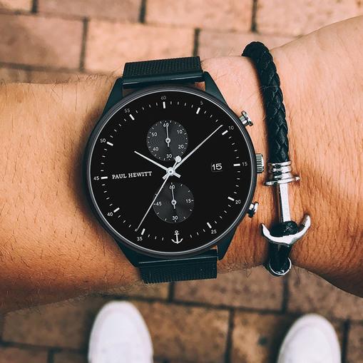 PH-C-B-BSS-5 Paul Hewitt 手錶 - Chrono 探險時針米蘭帶腕錶(霧黑/銀黑/黑)