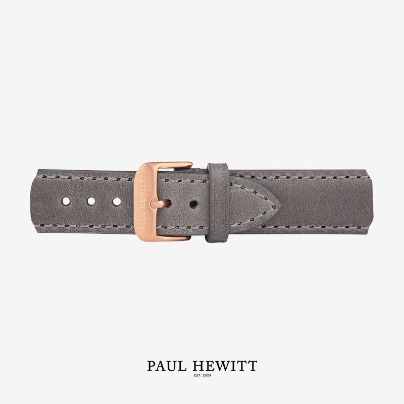 PH-M1-R-13 Paul Hewitt 原廠錶帶 - 20mm玫瑰金扣皮革錶帶 (煙灰色)