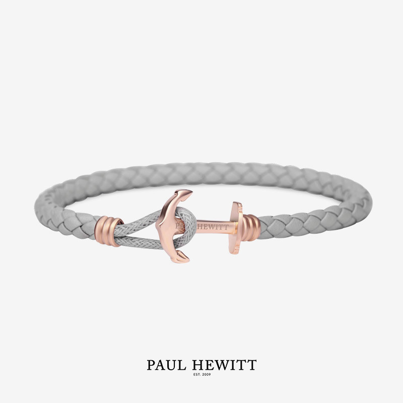 PH-PHL-L-R-Gr Paul Hewitt 手環 - Phreps Lite單環皮革編織 (玫瑰金扣/裸灰)