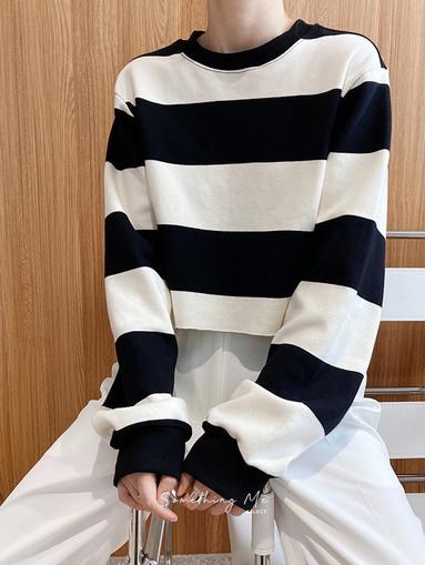 TE201004 條紋短版長袖上衣