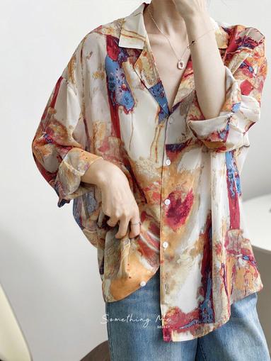 TE201010 寬鬆復古油墨雪紡襯 2色
