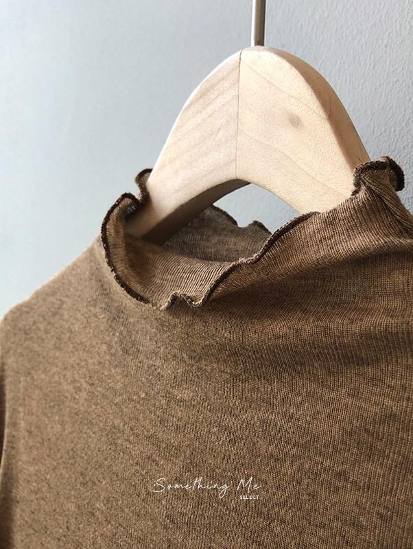 TF201001 木耳邊半領親膚長袖Tee 6色