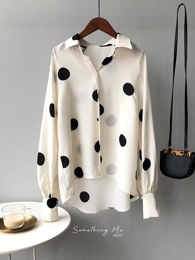 TF201003 法式復古波點雪紡襯衫 2色